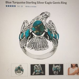 Blue turquoise and sterling silver ring